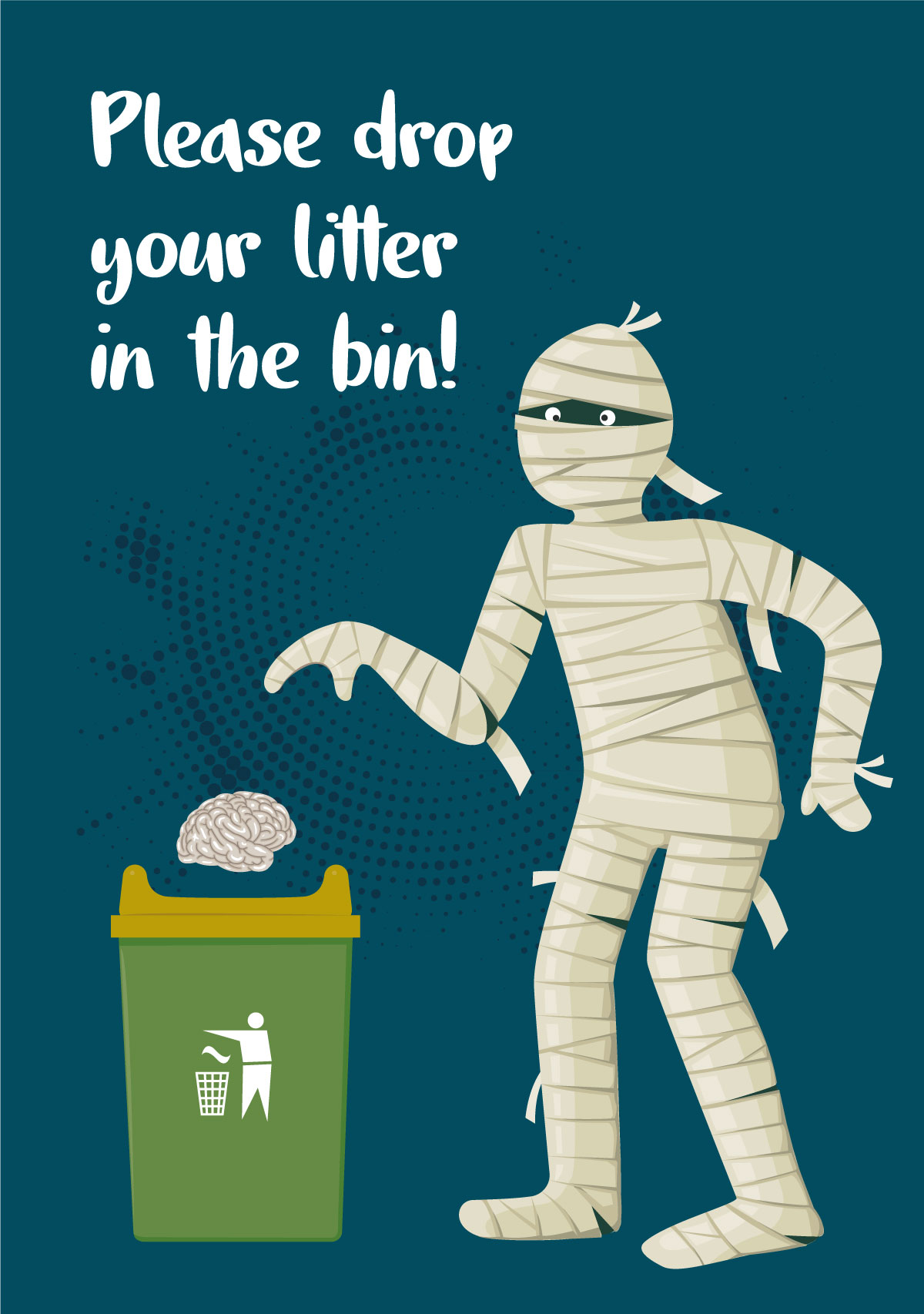 Please drop your litter in the bin sign with an egyptian mummy