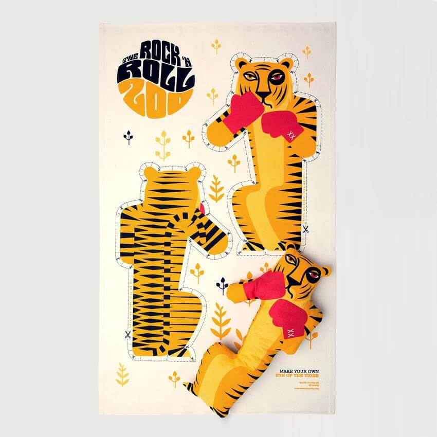 Rock and Roll Zoo tea towel